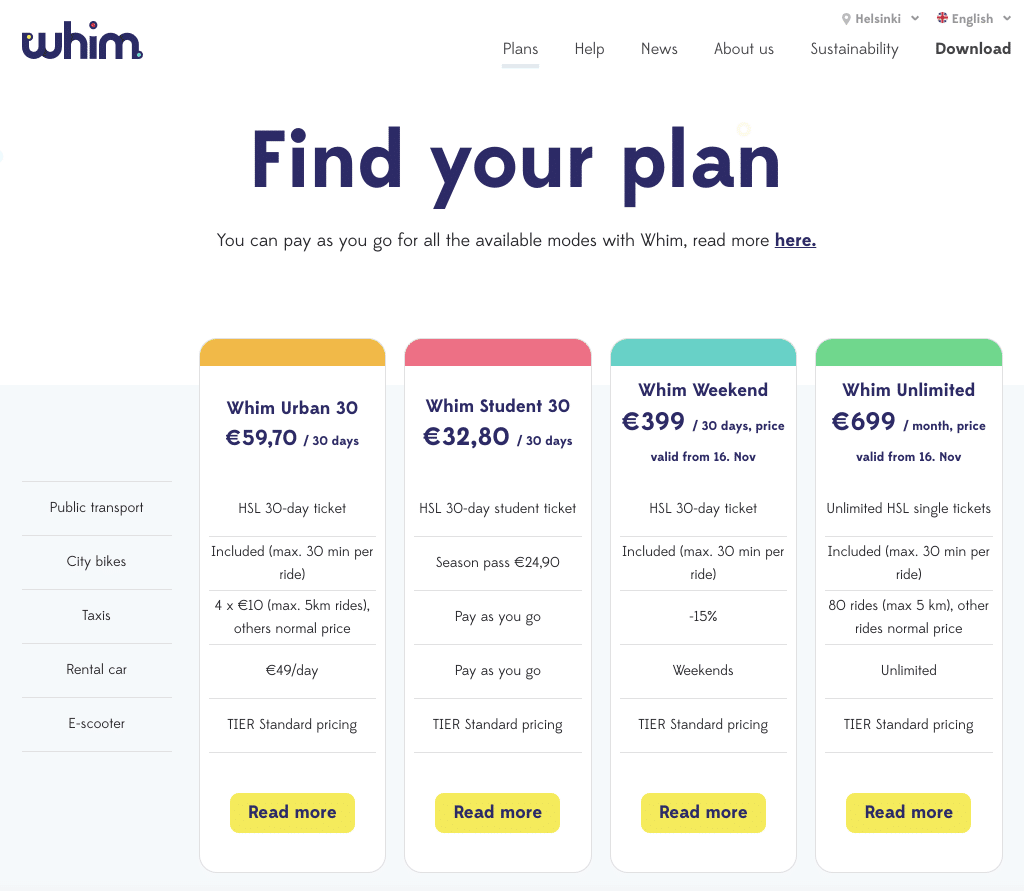 Whim Plans