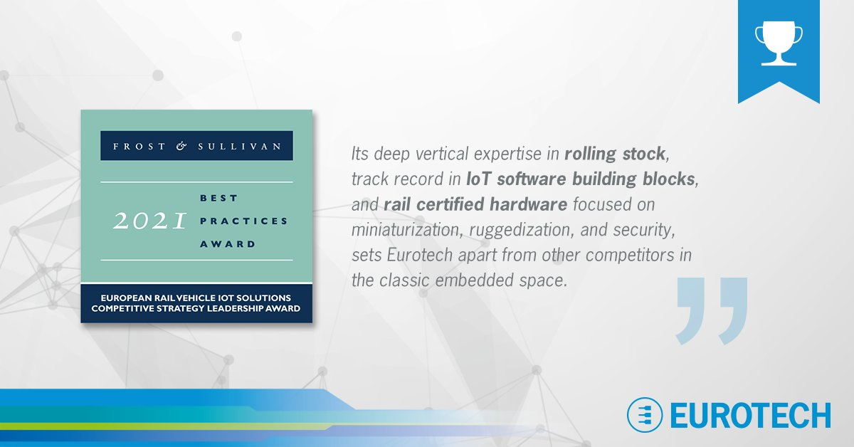 Eurotech Frost And Sullivan Award 2021 IoT Rail